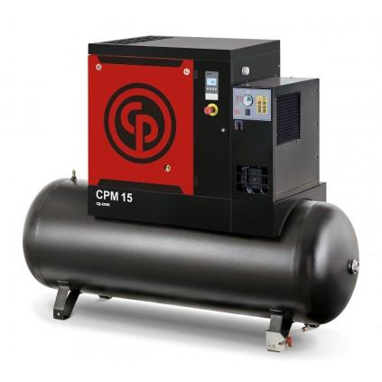 996l/min ved 10 bar Skruekompressor CPM 7,5kw med 270l tank og integrert kjøletørke